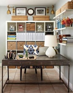 43 Inspiring And Thoughtful Home Office Storage Ideas : Home Office Storage Ideas With White Wall Wooden Storage Cabinet Bookcase Desk Chair Lamp Notebook Ceramic Floor