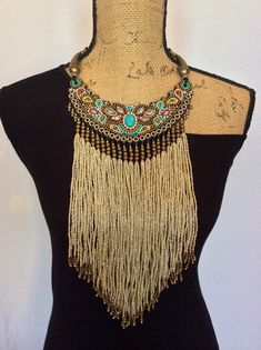 Bead Embroidery Bib Necklace with Beaded Fringe por perlinibella