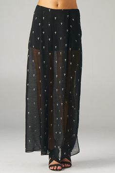 Embroidered Crosses Maxi Skirt with Front Slit (Black) - Front
