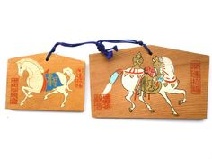 2 Japanese Shrine Wood Plaques Year of Horse by VintageFromJapan