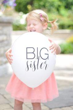 Big Sister Balloon - Pregnancy Announcement Ideas - Second Baby Pregnancy Announcement - Baby number 2 - Cute Sibling Pregnancy Announcement - Big Sister #babies #pregnancy #pregnancyannouncement #babyboy #babygirl #babyshowers