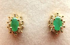 Emerald and Diamond Earrings 14kt 10kt Yellow Gold Pierced