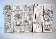 Magazine holders creating a city scape!