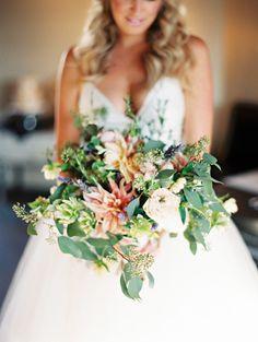 dahlia and garden rose bouquet, photo by Lavender & Twine http://ruffledblog.com/microbrewed-wedding-inspiration #flowers #gardenroses #bouquets