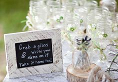 Use mason jars... Guests write their names on them and keep ... Surely I have 50 jars lol