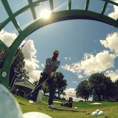 The view from inside Freddie Jacobson's range bucket on the practice range at the PGA Championship. #Golf