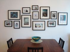Fotowand zu Hause gestalten- Tipps und 25 kreative Ideen Photo wall with black picture frames in the dining room Frames On Wall, Wall Collage, Collage Ideas, Gallery Wall Frames, Collage Photo, Gallery Wall Layout, Gallery Gallery, Wall Decor, Room Decor