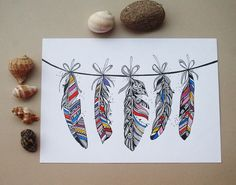 Tribal Feather Bunting. Original and prints. #bohemian #tribal #feather https://www.etsy.com/listing/197242502/tribal-feather-bunting-original