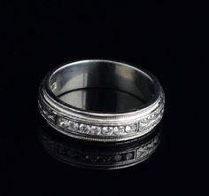 Tacori Men's Platinum Wedding Band Hand Engraved Detail And Channel Set Diamonds Size 10.5 $1400