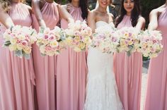Gorgeous image of bridesmaids! Pink blush dresses and stunning bouquets Bridesmaid Dresses, Wedding Dresses, Bridesmaids, Blush Pink Dresses, Wedding Pictures, Wedding Ideas, Special Day, Summer Wedding, Bouquets