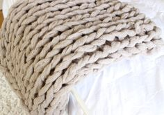 Gigantic Knit Chunky Bulky Blanket Throw  10 COLORS by KelUhSee