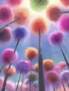 Truffula Tree Forest from The Lorax O Lorax, Lorax Trees, Truffula Trees, Tree Wallpaper, Iphone Wallpaper, Dr Seuss Art, Picsart, Dorm Art, Fun Brain