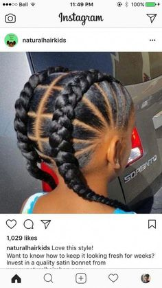 natural hairstyles for afro hair Little Girl Braids, Black Girl Braids, Girls Braids, Little Girl Braid Styles, Braids For Kids, Braids For Black Kids, Children Braids, Braided Hairstyles For Black Women, African Braids Hairstyles