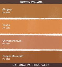 Warm orange paint colors (Sherwin-Williams)