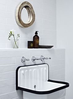 Alape Enameled Bucket Sink from Orchard Keepers posted in Tiny White Powder Room/Remodelista Bad Inspiration, Bathroom Inspiration, Bathroom Storage, Small Bathroom, Mirror Bathroom, White Bathroom, Storage Tubs, Bathroom Ideas, Bathroom Trends