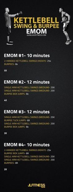 EMOM Workout- Kettlebell Swings and Burpees https://www.kettlebellmaniac.com/kettlebell-exercises/ https://www.kettlebellmaniac.com/kettlebell-exercises/