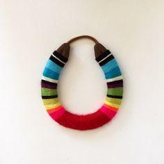 lucky yarn wrapped horseshoe by marleyandalfie on Etsy