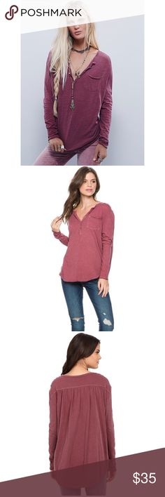 • Free people purple frontier Henley top size XS • Lightweight cotton tee boasts a classic henley silhouette. Round neckline with a four-button placket. Left chest pocket. Long sleeve design. Gathering at the back yoke. Curved high-low hemline. 100% cotton. No trades. Large oversized shirt, can fit up to M Free People Tops Tees - Long Sleeve