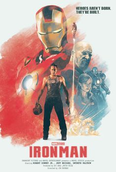 Iron Man (2008) directed by John Favreau, written by Mark Fergus, Hawk Ostby, Art Marcum and Matt Holloway (based on the Marvel comics by Stan Lee, Don Heck, Larry Lieber and Jack Kirby)