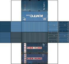 Build Your Own Free Printable 20ft Containers 4 in 1 (HO Scale)