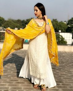 N #PunjabiLadiesSuits Party Wear Indian Dresses, Dress Indian Style, Pakistani Dresses, Anarkali Dress, Indian Fashion Trends, Indian Fashion Dresses, Indian Outfits, Indian Clothes, Sharara Designs