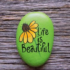Life is Beautiful Painted Rock,Decorative Accent Stone, Paperweight Life is Beautiful Painted Rock,Decorative Accent Stone, Paperweight by HeartandSoulbyDeb on Etsy Rock Painting Patterns, Rock Painting Ideas Easy, Rock Painting Designs, Paint Designs, Painting Rocks For Garden, Rock Painting Kids, Pebble Painting, Pebble Art, Stone Painting