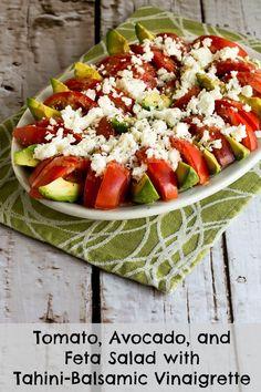 Tomato, Avocado, and Feta Salad with Tahini-Balsamic Vinaigrette