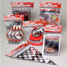 Assorted race car party supplies Car Themed Parties, Cars Birthday Parties, Car Birthday, Birthday Ideas, Planes Party, Race Car Party, Wholesale Crafts, Craft Sites, Car Themes