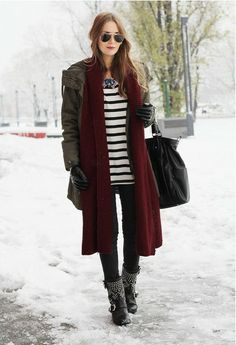 Long Windbreaker and Studded Flat Boots for Winter Outfit Ideas