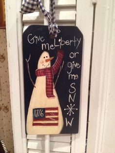 Snowman Americana Primitive Sign Hand Painted by VintageTrimmings
