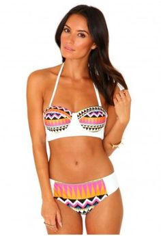 6a85a011d440b Missguided - Bahari Aztec Print Bikini In White Affordable Swimsuits