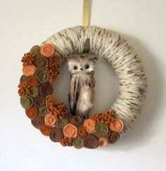 Brown Owl Wreath, Autumn Wreath, Halloween Wreath, Yarn and Felt Wreath - 12 inch size. $44.00, via Etsy.
