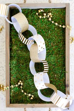 Gold Foil Glitter Paper Chain Garland Banner Napkin Rings Wedding Birthday Party Anniversary Baby Shower Bridal