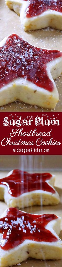 Sugar Plum Shortbread Christmas Cookies ~ Scrumptious old-fashioned buttery shortbread kissed with sunny orange zest, pecans and a whisper of spices topped with Sugar Plum Jam. They are like a jam-topped English scone turned into a shortbread cookie! Holiday Cookies, Holiday Desserts, Holiday Baking, Holiday Recipes, Christmas Recipes, Christmas Foods, Plum Recipes, Christmas Cookie Exchange, Christmas Sweets