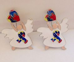2 Autism Awareness Angel Brooches with white Dresses and Hearts