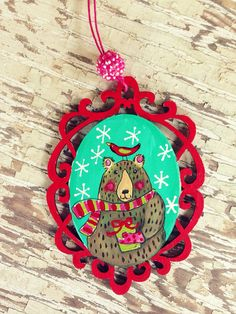 Bear Ornament Hand Painted Gift on Etsy, $22.00