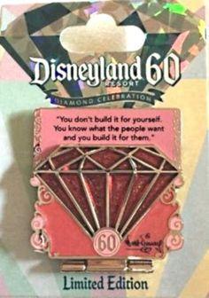 2015 Disney Disneyland 60th Anniversary Diamond Pin #107709 Red Pink Countdown!
