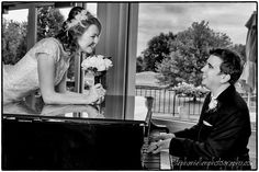 Bride Groom Piano Black and White Tampa Photography