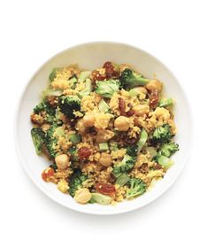 Curried Broccoli Couscous: Chickpeas, crunchy broccoli, and sweet raisins make this vegetarian meal hearty enough to satisfy any meat-lover.