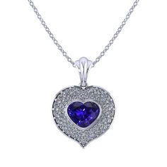 If you love sapphires, you may be inspired by this magnificent Heart Shaped Sapphire Necklace created by the artisans at Jewelry Designs. Sapphire Necklace, Sapphire Jewelry, Diamond Pendant Necklace, Diamond Necklaces, Heart Jewelry, Fine Jewelry, Quality Diamonds, White Gold Diamonds, Heart Shapes