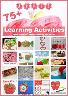 Apple Theme Learning Activities for Apple Math, Apple Science, Apple Literacy and More. Great for Parents, Teachers, and Homeschooling Preschool Apple Theme, Apple Activities, Preschool Learning Activities, Play Based Learning, Fun Activities For Kids, Autumn Activities, Kids Learning, Preschool Apples, Preschool Classroom