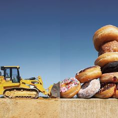 front loader + donuts  just preparing for national donut day (which is tomorrow). #combophoto