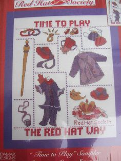 """Red Hat Society """"Time to Play"""" Cross Stitch Needlework Kit 51483 Needlepoint Patterns, Cross Stitch Patterns, Red Hat Society, Costume Patterns, Red Hats, Cool Patterns, Needlework, Quilts, Play"""