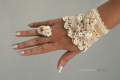Crochet+cuff+and+crochet+ring+in+cream+color+by+ellisaveta+on+Etsy,+$116.00