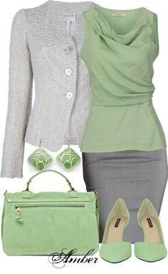 Grey skirt green top