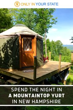 If you're looking for a unique weekend getaway, check out this cozy mountainside yurt in New Hampshire! Enjoy beautiful views, a dome skylight for stargazing, and plenty of peace and quiet. It's a great romantic escape. Best Bucket List, Granite State, Romantic Escapes, Stay Overnight, Hidden Beach, Swimming Holes, Summer Travel, Skylight, New Hampshire