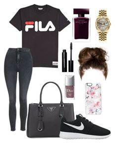 """Unbenannt #390"" by lailabalic on Polyvore featuring Mode, Fila, Topshop, Prada, NIKE, Rolex, Casetify, Bobbi Brown Cosmetics, Christian Dior und Narciso Rodriguez"