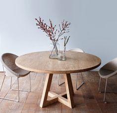 Cross Leg Round Dining Table Whitewashed Teak 160
