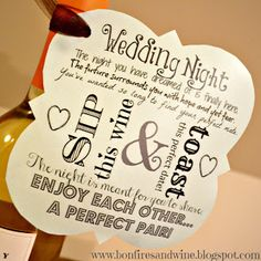 DIY Wine Wedding Gift Package - Wedding night bottle tag (perfectly paired with Simply Naked) Wedding Gift Tags, Wedding Thank You Cards, Wedding Ideas, Wedding Stuff, Trendy Wedding, Wedding Tables, Wedding Fun, Wedding Wishes, Wedding Things