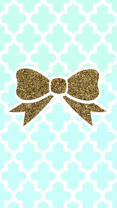 Tiffany Blue and gold glitter bow wallpaper.